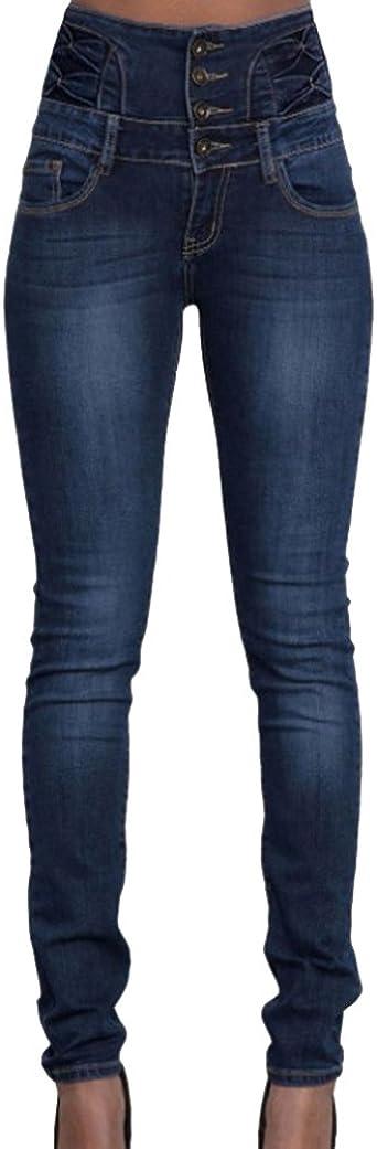 ZhuiKun Pantalones Elásticos Skinny Slim Vaqueros Push Up Leggings Jeans para Mujer