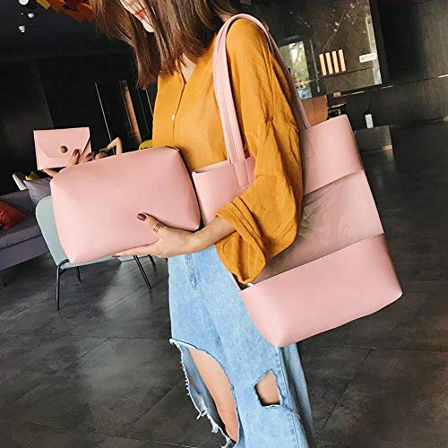 Pink Handbag Shoulder 3pcs Change Fashion Bag Domybest Transparent Purse Clutch set Women Bq6U6PS