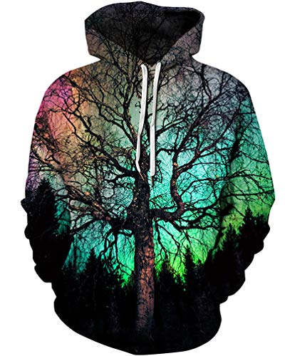 Unisex 3D Novelty Hoodies Easter Galaxy Hoodies Sweatshirt Pockets (Easter Tree)