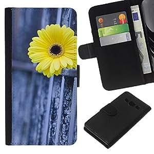 EJOY---La carpeta del tirón la caja de cuero de alta calidad de la PU Caso protector / Samsung Galaxy A3 / --Daisy Cerca Metáfora Significado Profundo