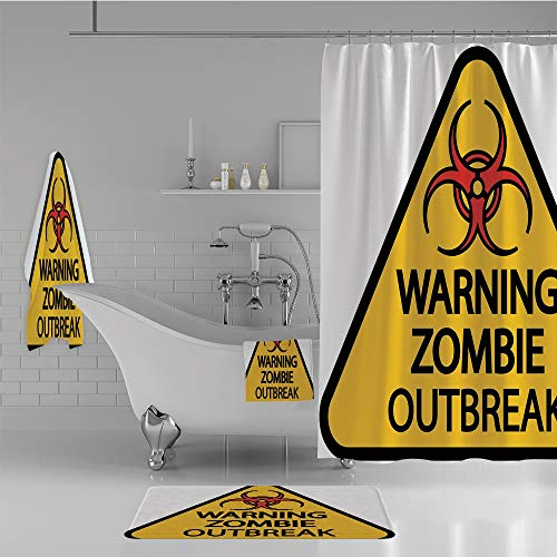 iPrint Bathroom 4 Piece Set Shower Curtain Floor mat Bath Towel 3D Print,Outbreak Sign Cemetery Infection Halloween Graphic,Fashion Personality Customization adds Color to Your Bathroom. -