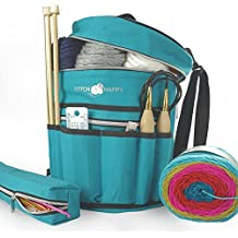 Stitch Happy Knitting Bag - Yarn Tote Organizer w/Tool Case, 7 Pockets + Divider for Extra Storage of Projects, Supplies & Crochet (Peacock)