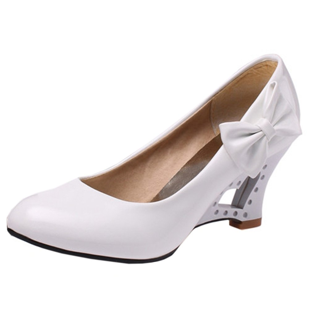 FANIMILA Women Fashion Slip On Strange Heel Pumps With Bowknot B0746H955X 6 B(M)US = 23.5 CM|White
