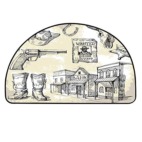 YOLIYANA Western Half Round Door Mat,Hand Drawn Wild West Themed Icons Bank Sheriff Pistol Wanted Poster Print Decorative for Indoor Outdoor,21.6