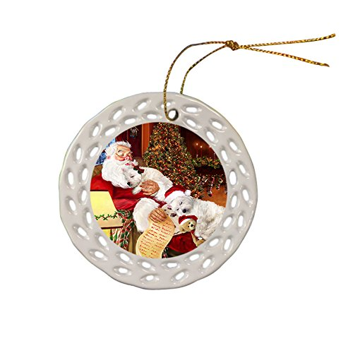 Westie Dog Christmas Doily Ceramic Ornament by Doggie of the Day