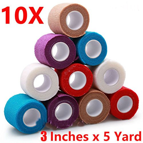 3'' x 5 Yard, 10 Roll Self Adhesive Bandage Gauze Rolls Elastic Adherent Tape First Aid Kit Wrap by Unknown