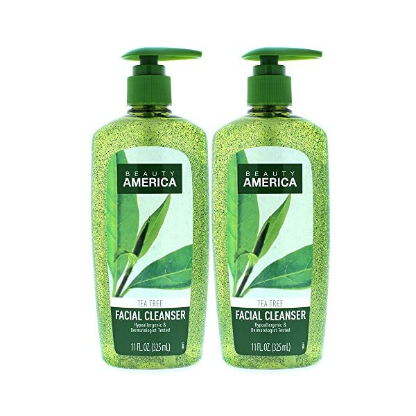 Beauty America Tea Tree Facial Cleansing Wash – with Jojoba Beads – 2 pack