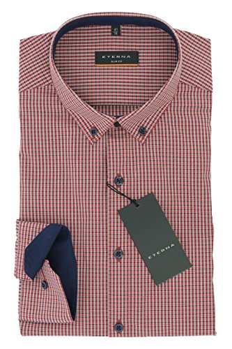 ETERNA Herren SLIM FIT Langarmhemd blau-orange kariert 39-H Normal Slim Fit (67cm)