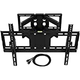 HARFING EMP-626MT Full Motion Articulating TV Wall Mount Bracket for most 32-65 inch LED LCD OLED Plasma Flat Screens with VESA Patterns up to 600x400-176lbs-HDMI Cable-EMP-626MT