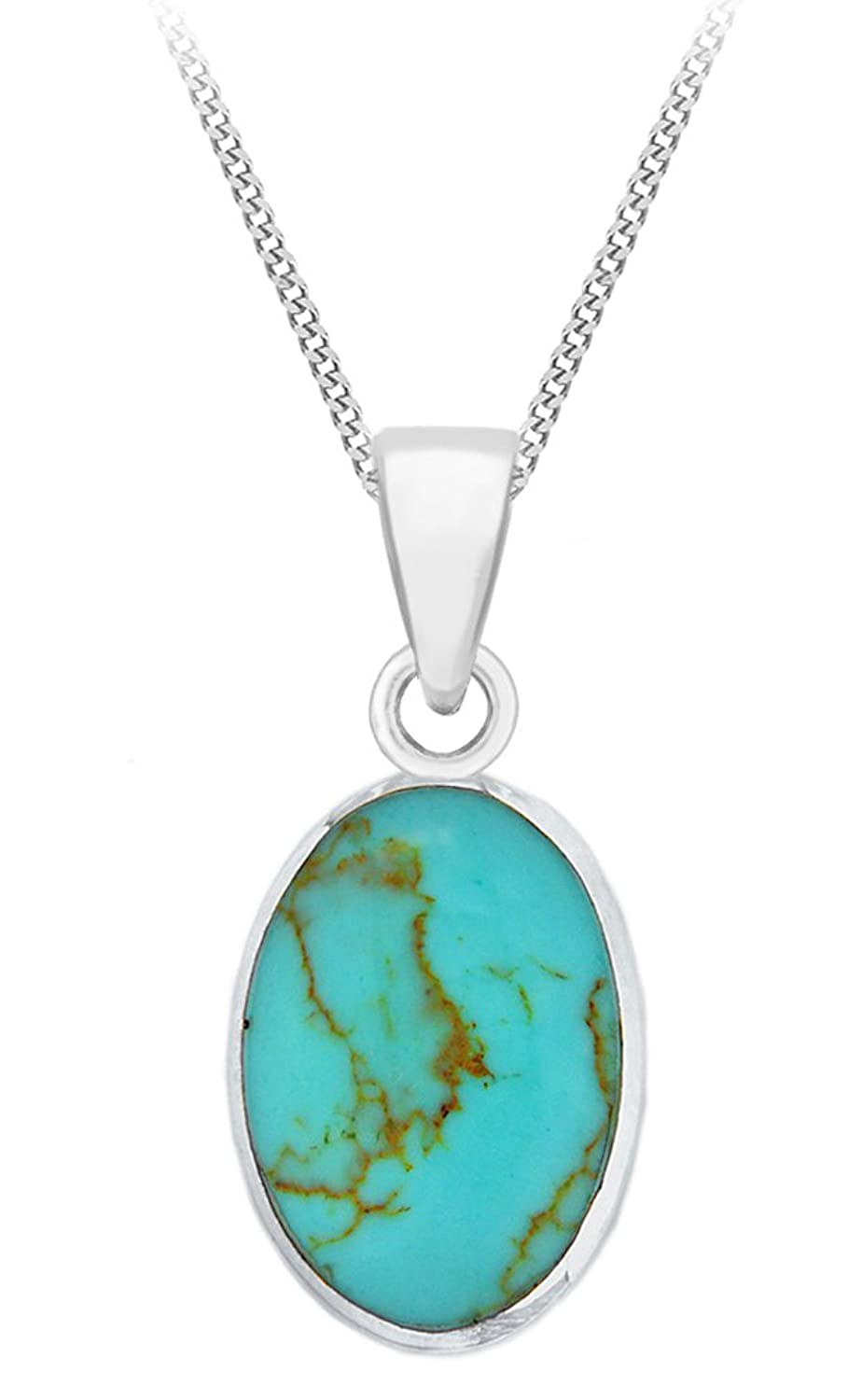 Tuscany silver sterling silver oval turquoise pendant on chain tuscany silver sterling silver oval turquoise pendant on chain necklace of 46cm18 amazon jewellery aloadofball Choice Image