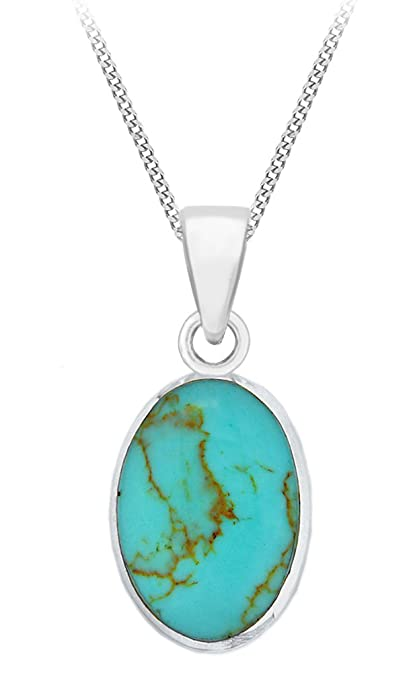Elements Silver P3346T Ladies' Turquoise Disc Flower Pattern Sterling Silver Pendant with Chain of 46 cm c5EqjsMhLm