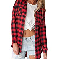 Litetao Womens Girls T-shirt Plaid Print Long Sleeve Blouse Girls Lapel Pocket Tops