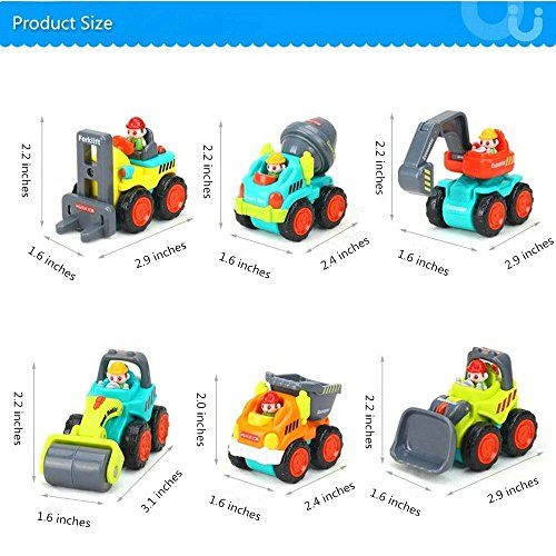 Sliding Toy Cars Push Go for Baby Over 12-18 Months 1-2 Years Old Toddler Play Pocket Size Small Construction Trucks Bulldozer/Cement Mixer/Dumper/Forklift/Excavator/Road Roller Set of 6
