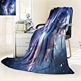 YOYI-HOME Throw Microfiber Duplex Printed Blanket Nebula Gas Cloud in Deep Ouuter Space with Star Cluster Universe Solar Navy Purple Anti-Static,2 Ply Thick,Hypoallergenic/W47 x H79