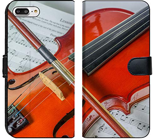 - Apple iPhone 8 Plus Flip Fabric Wallet Case Closeup Photo of Violin and Bow on Note Sheet with Text Space Image 28080698 Customized