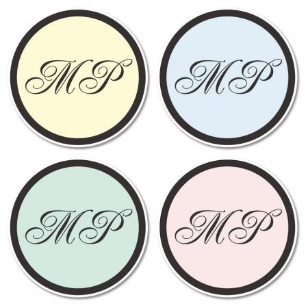 Personalized Initials Envelope Seals - Set of 144 Self-Adhesive, Flat-Sheet, 1-1/2