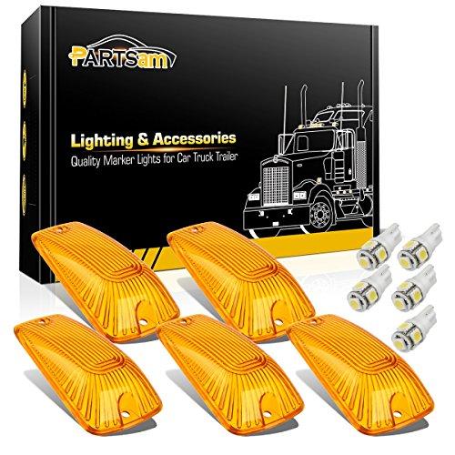 Partsam 5X Amber Cab Marker Roof Running Light Cover 264159AM + T10 158 White 5050 LED Bulb Compatible with Chevy/GMC K1500 K2500 K3500 K5500 K6000 K7000 K7500 1988-2002 Kodiak Topkick ()
