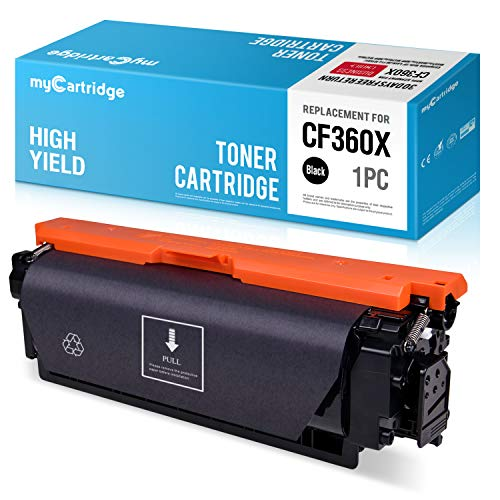 myCartridge Re-Manufactured Toner Cartridge Replacement for HP 508X CF360X 508A CF360X 1 Black Fit HP Laserjet M553N M553DN M553X M577C M577Z M577F M577DN