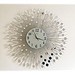 Wall Mirror Decorative Metal Wall Clock Modern European Creative Art (29inch)