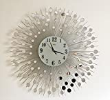 Wall Mirror Decorative Metal Wall Clock Modern European Creative Art (28''inch)