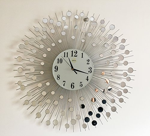 Wall Mirror Decorative Metal Wall Clock Modern European Creative Art (28''inch) by MEI-DA