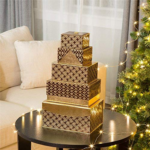 C-8/9 Box - Glitzhome Christmas Thanksgiving Day Gift Boxes, Nesting Lids in 5 Assorted Sizes, Holiday Decorative Wrapping