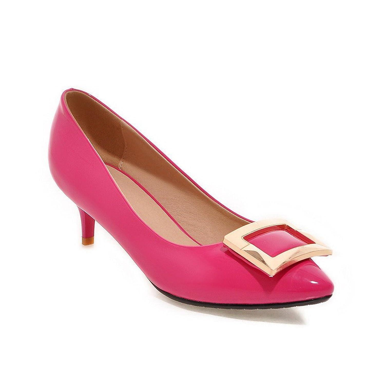 AgooLar Damen Schnalle Mittler Absatz PU Eingelegt Spitz Zehe Pumps Schuhe, Pink, 33