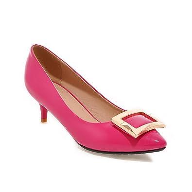 Damen Spitz Zehe Mittler Absatz Lackleder Eingelegt Ziehen auf Pumps Schuhe, Weiß, 35 AgooLar