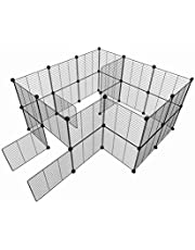 Tespo Pet Playpen, Dog Puppy Cat Pen, Small Animal Cage Indoor Portable Metal Wire Yard Fence for Small Animals, Guinea Pigs, Rabbits Kennel Crate Fence Tent Black 15 X 12 Inches (28 Panels)