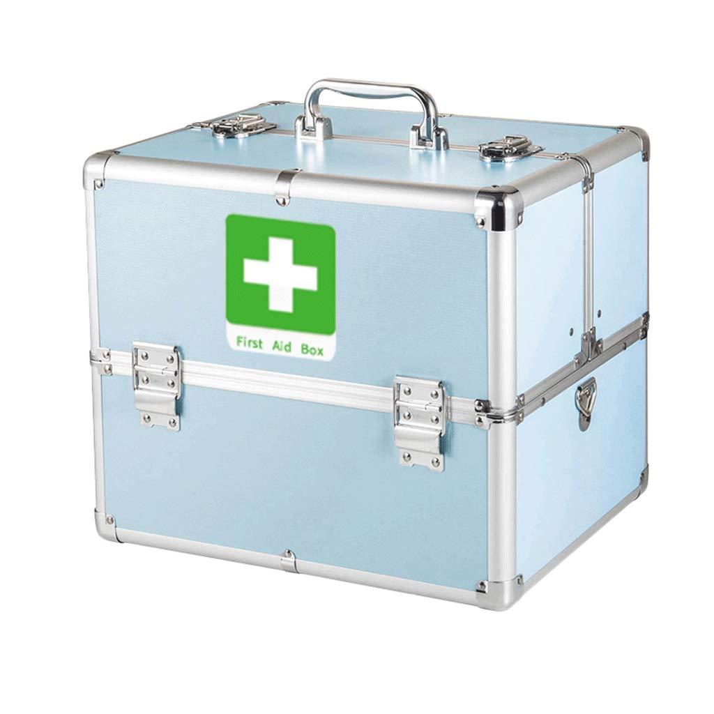 薬箱アルミ合金L 33 * W 23 * H 26.5 cm家庭用薬箱薬外来応急処置医療箱収納ボックス (色 : 青, サイズ さいず : L33*W23*H26.5CM) L33*W23*H26.5CM 青 B07QP6RPWZ