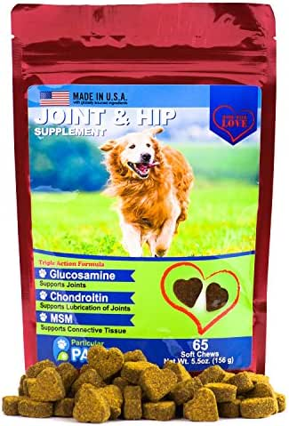 Particular Paws Glucosamine for Dogs - Treats - Joint & Hip Formula with MSM, Chondroitin and Hyaluronic Acid - 65 Soft Chews