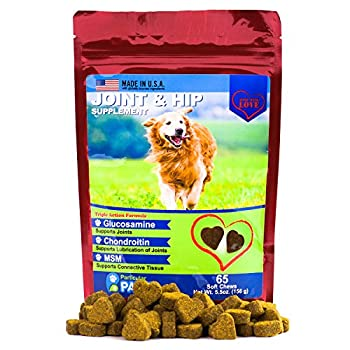 Glucosamine For Dogs - Treats - Joint & Hip Formula With Msm, Chondroitin & Hyaluronic Acid - 65 Soft Chews 0