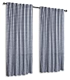 Glamburg 2 Pack 100% Cotton Window Curtain Panel 50'X96' Gingham Check Plaid Farmhouse Style Tab Top Curtains Navy