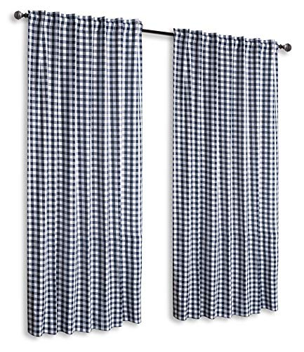 (Farm House Curtain in Buffalo check Plaid cotton fabric 50x84 -Navy/White, Cotton Curtains,2 Panels Curtain, Tab Top curtains,Curtains Set of 2, Gingham Check Curtain, Gingham check curtain panel)
