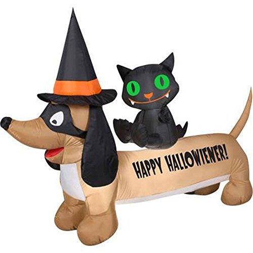 Gemmy Airblown Inflatable Hallowiener Dachshund Dog Wearing A Witches Hat with Cat on His Back, 5-feet Long and Approximately 3.5-feet Tall (Cats And Dogs Wearing Halloween Costumes)