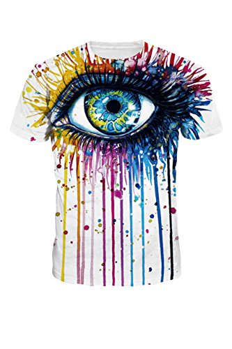 Mulisky Womens Hipsters 3d Eye Printed Crew Neck Pullover Jogger T Shirts M