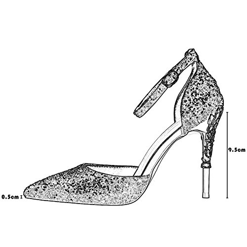 Mariage Club Chaussure Pointu Sandales Sexy Haut Soirée Bureau Cheville Talon Ol Escarpins Wealsex Rouge Paillette Bride Aiguilles Boucle Elégant Bout Femme TapqO
