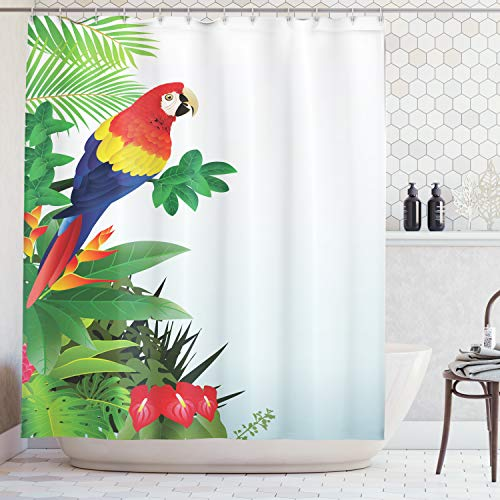 Parrots Decor Shower Curtain by Ambesonne, Macaw Bird in the Tropical Forest Flowers Big Leaves Plants Wildlife Vibrant Color Art, Polyester Fabric Bathroom Set with Hooks, 69 X 70 Inches, ()