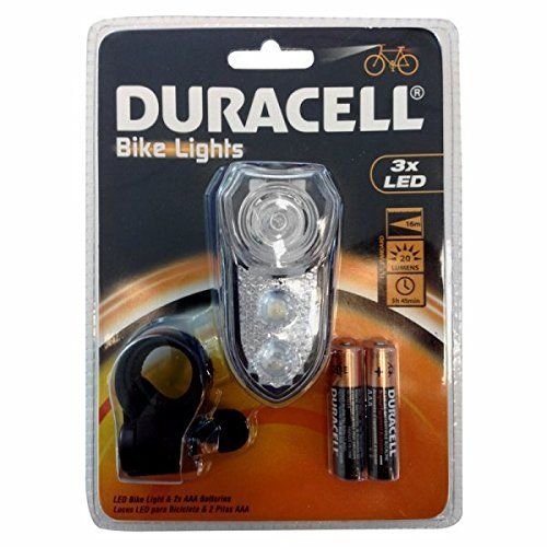 Duracell Bicycle Light Front Headlight Clear 3LED !