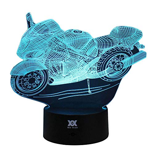 Motorbike Night Light for Kids Easter Gift 3D Visual Illusion Night Lamp Xmas Chirstmas Halloween Birthday Party Gift Nursery Bedroom Table Night Lamps Lights for Boy Teens Home Room Decor by HUI YUAN by HUI YUAN