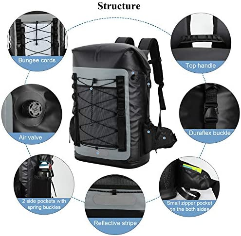 MIER 100/% Waterproof Insulated Backpack Cooler Soft Cooler Bag with Roll Top Closure for Hiking Beach Camping Black Kayaking Fishing 50L Picnics