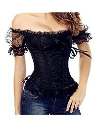 Women's Princess Renaissance Corset Lace Ruched Sleeves Elegant Overbust Top
