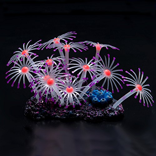 Uniclife Glowing Effect Artificial Coral Plant for Fish Tank, Decorative Aquarium Ornament,Purple