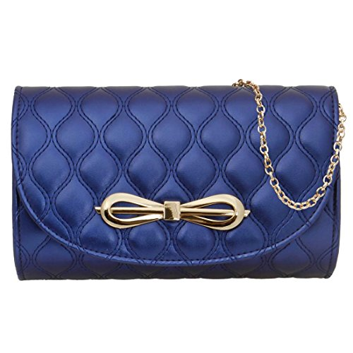 BMC Womens Luster Blue PU Faux Leather Gold Bow Accent Flap Quilted (Quilted Clutch Purse)