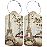Luggage Tag Leather Tags Vintage Eiffel Tower Monarch Butterfly Full Privacy Cover Name ID Labels
