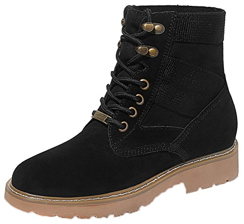 Women's Round Toe Flat Brogue Martin Boots London Ankle Boots Black - 4