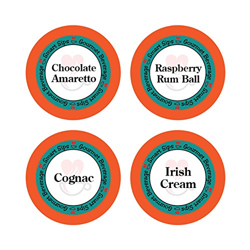 - Smart Sips, Liquor Lovers Flavored Coffee Variety Sampler- Raspberry Rum Ball, Cognac, Irish Cream, Chocolate Amaretto, 24 Count for Keurig K-cup Brewers