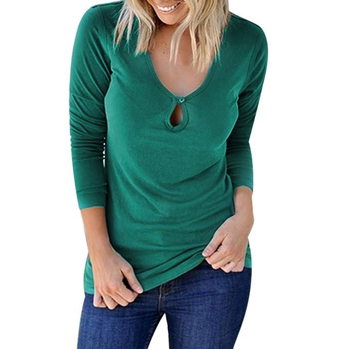 JiaMeng ❀ Donna Camicia Blusa Chiffon Manica Lunga Casual Sexy Ufficio  V-Scollo Camicetta Elegante 5533ce4e59b