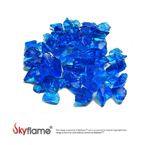 Skyflame 10-Pound Recycled Fire Glass for Fire Pit/Fireplace/Vase Fillers/Garden Landscapes, Sea Blue by Skyflame