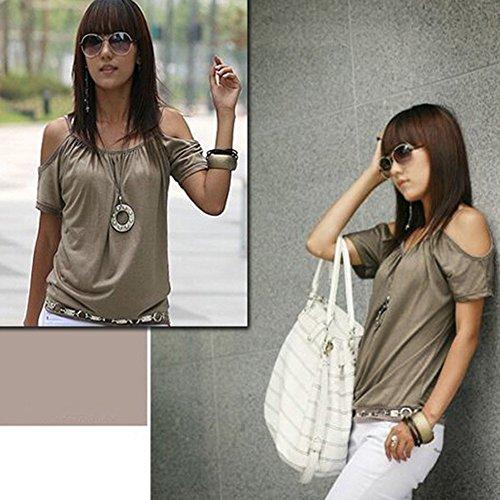 Weixinbuy Women Short Sleeve Off Shoulder Shirt T-shirt Khaki M